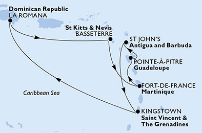 Crociera ai Caraibi MSC itinerario