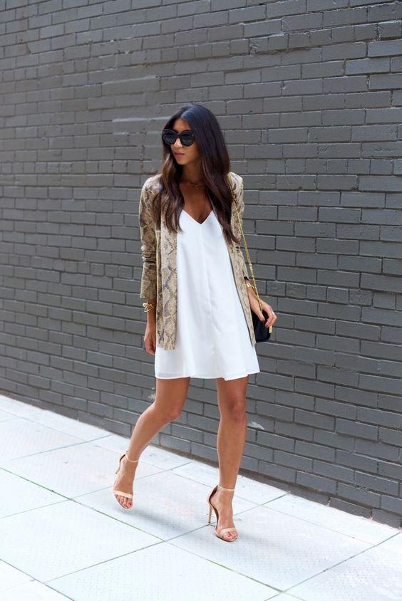 bianco e pitonato outfit estivo