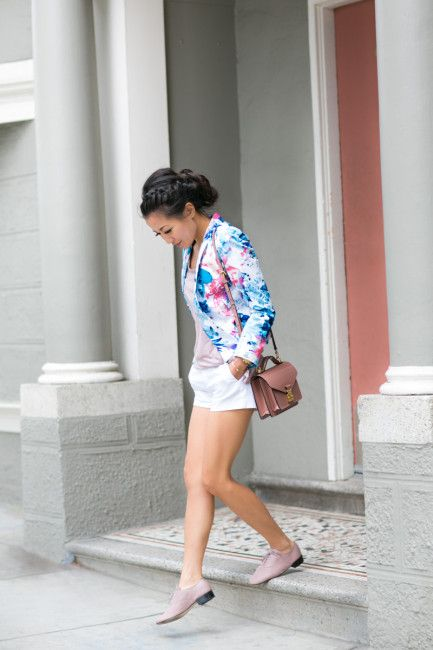 blazer con stampe floreali