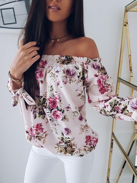 top a fiori off shoulder