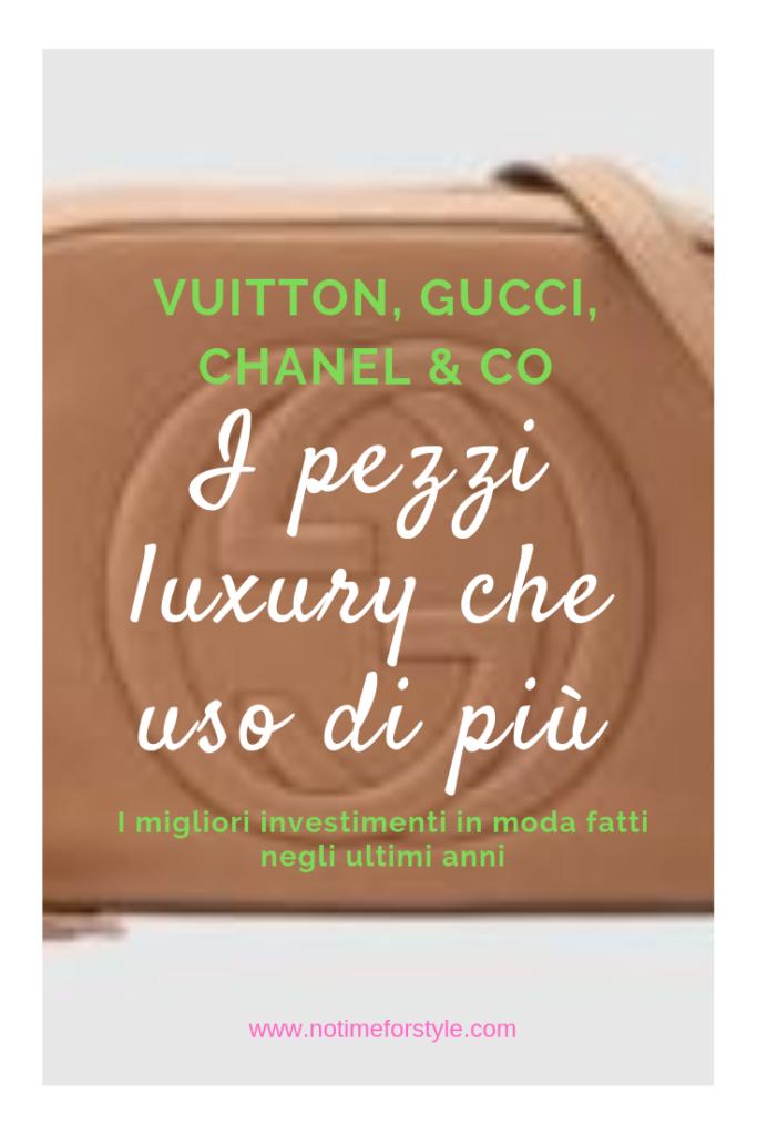 Post sugli accessori di lusso più sfruttati: Chanel Boy, Bauletto Vuitton, Gucci Disco, orologio Rolex, Zippy Vuitton