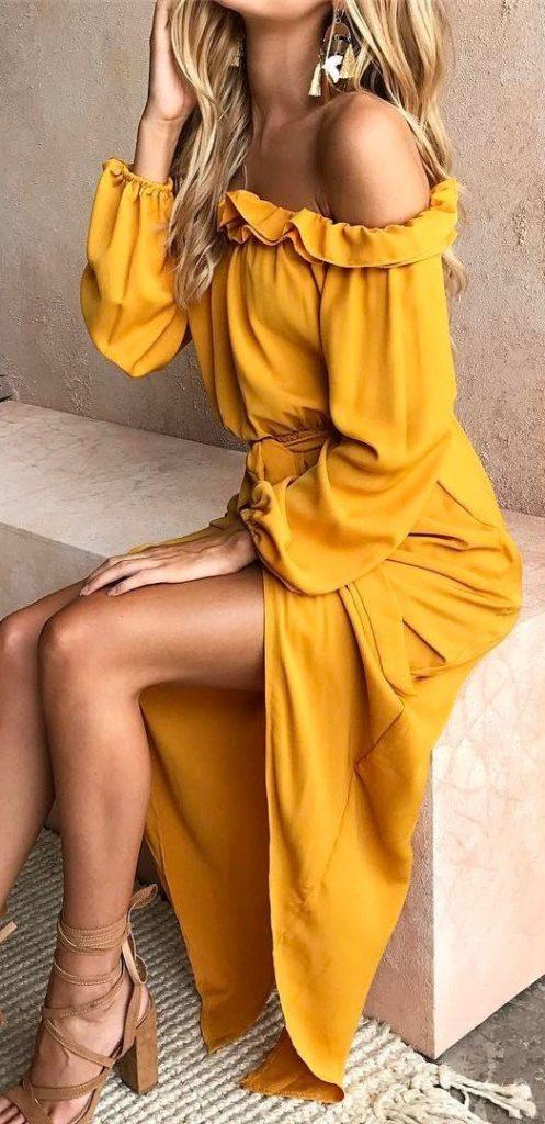 maxi dress off shoulder