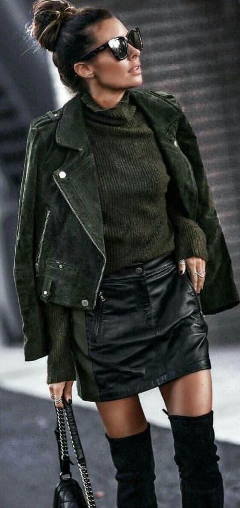 giacca camoscio verde