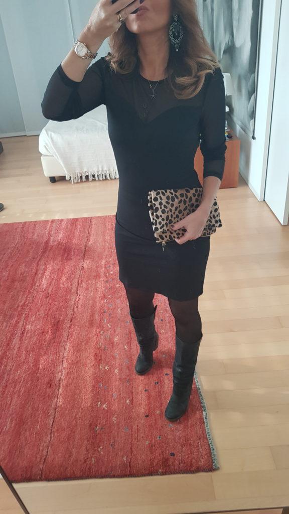 Little black dress e pochette leopardata