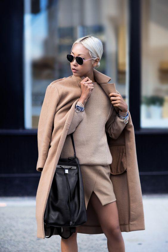 cappotto cammello outfit monocromatico