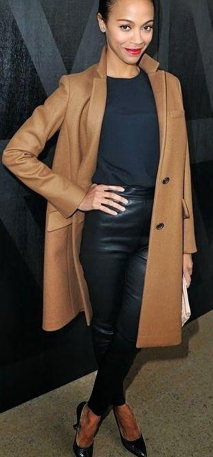 Abbinamento cappotto cammello e pelle nera