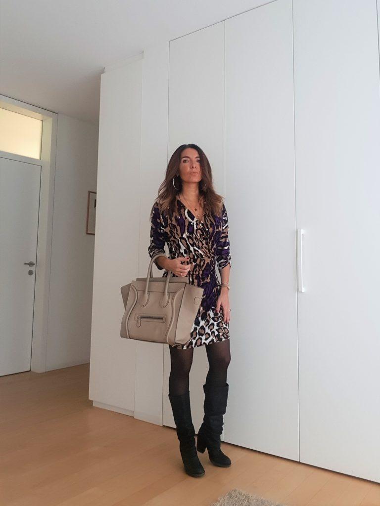 Leopard print dress and Céline Mini Bag