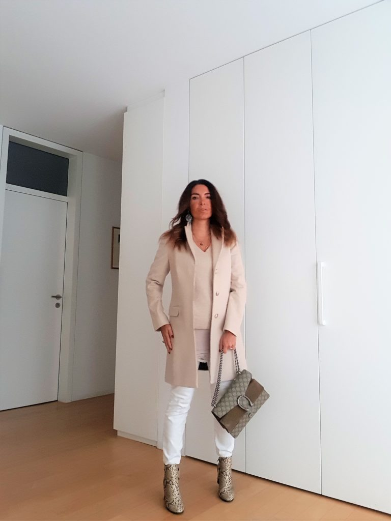 White Coat and Gucci Dionysus. Snake Print booties.