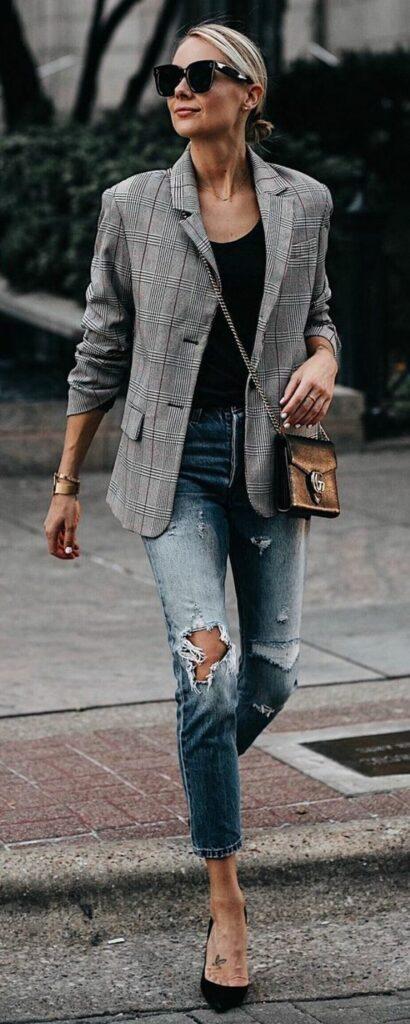 Giacca a quadri e jeans