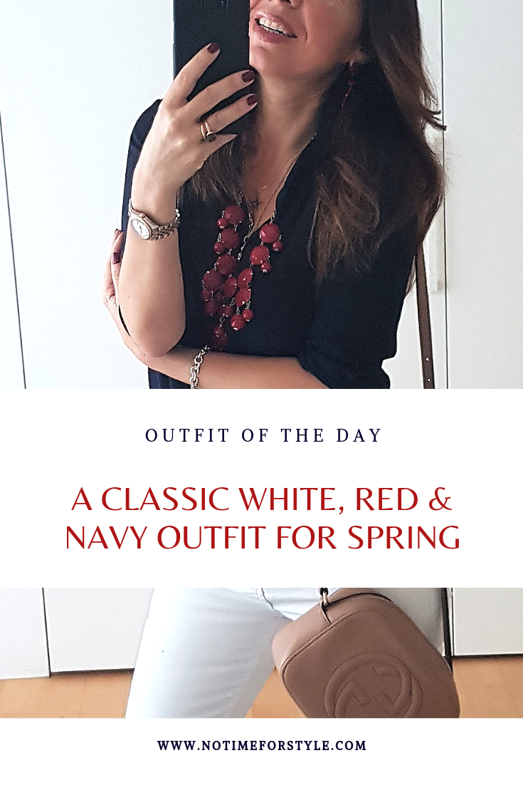 Classic Spring Summer Outfit in White, Navy and Red