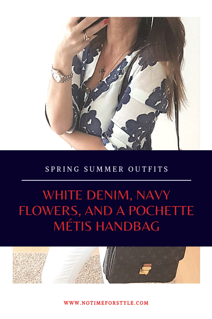 Spring Summer Outfit : white, navy and a Louis Vuitton Pochette Métis