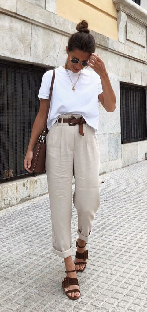 beautiful classic outfit in neutral shades