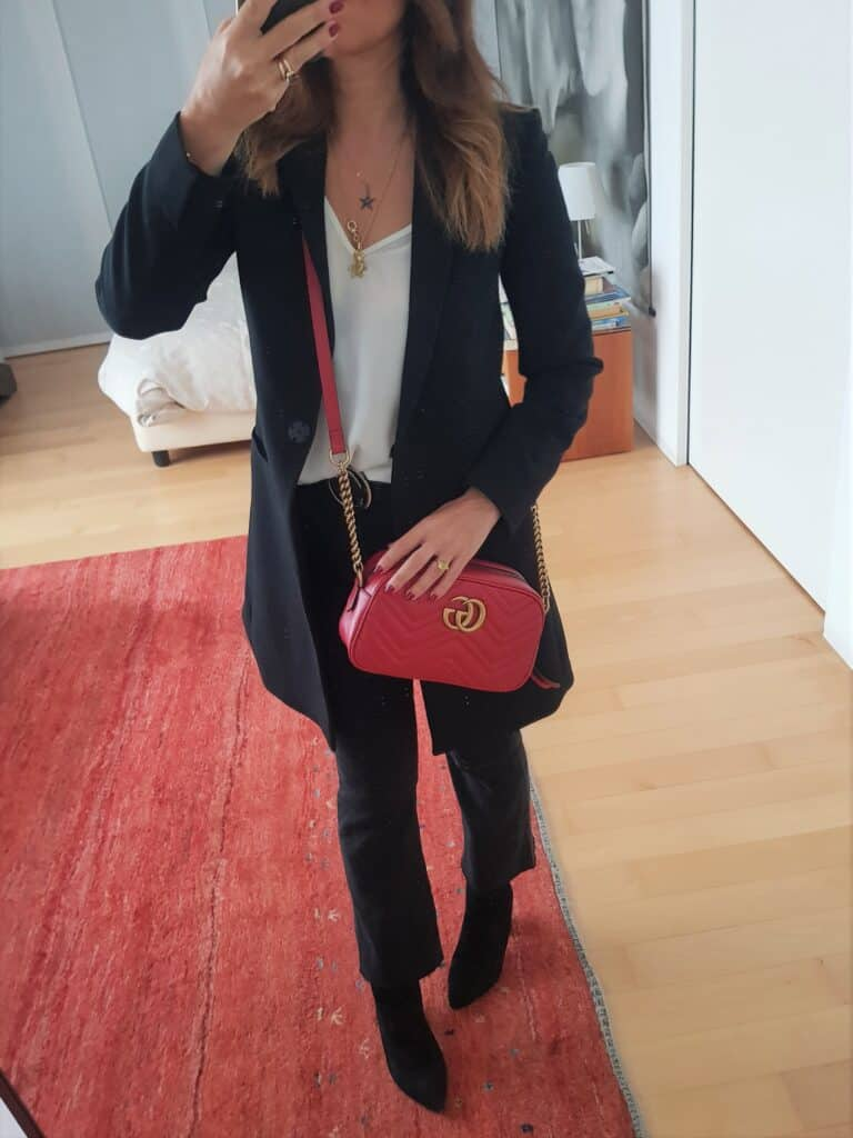 Gucci Marmont rossa outfit
